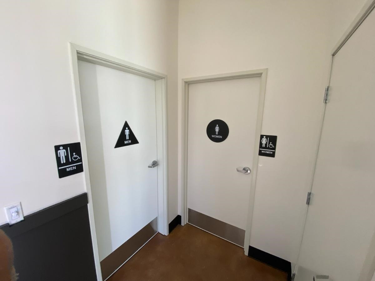 Restrooms and signs